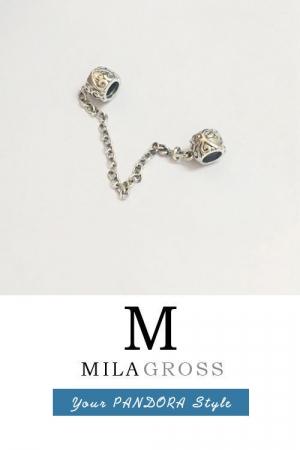 Винтажная защитная цепочка для браслета Пандора (серебро)
