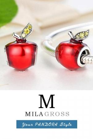 Шарм красное яблоко с листиками (серебро)