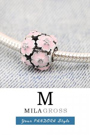 Шарм бусина Цветы с эмалью и камушками (серебро)