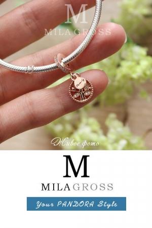 """Шарм подвеска Pandora Rose """"Family Tree"""" (Семейное древо), серебро 925/позолота"""