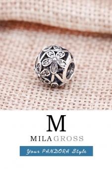 Шарм бусина цветы с узорами в камнях (серебро)