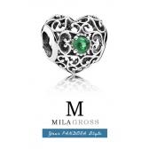 """Шарм Pandora """"Талисман мая"""": сердце с зеленым камнем (серебро)"""
