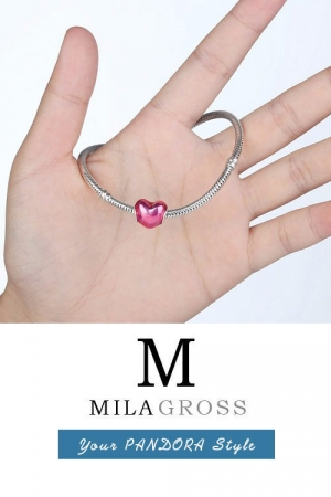"""Шарм Pandora розовое сердце """"В моем сердце"""" (In my heart), серебро"""