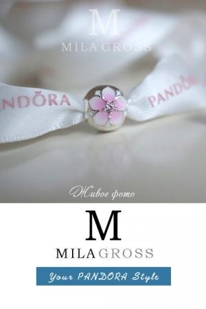 """Клипса Пандора из весенней коллекции """"Цветок магнолии / Magnolia bloom"""" (серебро)"""