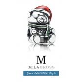 """Шарм Пандора """"Новогодний мишка с шарфом"""" (серебро 925 пробы)"""