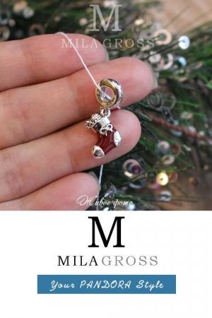 """Шарм Pandora """"Праздничный носочек"""" (Festive stocking pendant), серебро"""