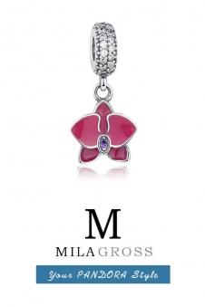 Шарм подвеска дикая Орхидея (серебро)