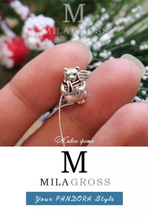 """Шарм Pandora """"Christmas Polar Bear"""" (Рождественский полярный мишка), серебро"""