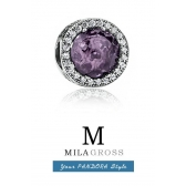 """Пандора """"Лучистые сердца"""" королевский фиолетовый кристалл (серебро)"""