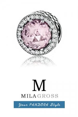 """Шарм бусина Пандора """"Лучистые сердца"""" розовый кристалл (серебро)"""