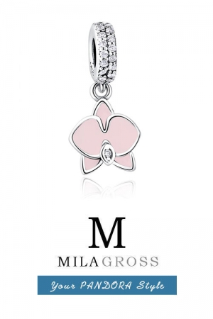 Подвес Пандора розовая Орхидея (серебро), новая коллекция 2017