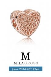 """Шарм из коллекции Пандора Rose """"Romance heart"""" (серебро с розовой позолотой)"""