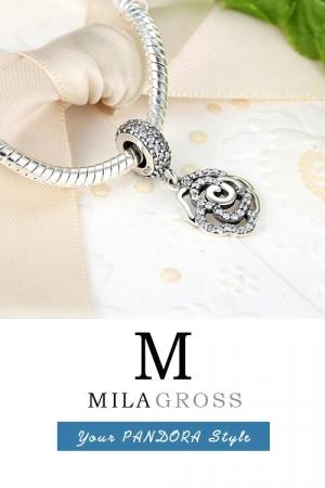Шарм подвеска Пандора Роза в камнях (серебро)