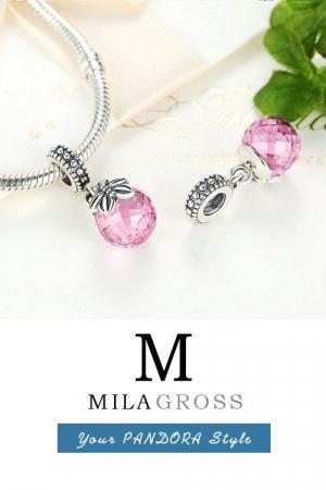 "Шарм подвеска Пандора ""Розовый кристал"" (серебро)"