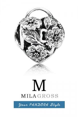 Шарм подвеска Пандора серебряное сердце замок с цветами (серебро)
