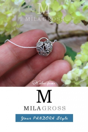 Шарм Пандора серебряное сердце замок с цветами (серебро)