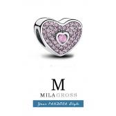 Шарм Пандора серебряное сердце паве с камнем