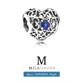 "Шарм Pandora ""Талисман декабря (сердце с синим камнем)"", серебро 925"