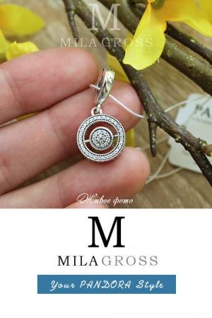Подвес Пандора Вращающиеся сердца (Spinning Pandora Signature Pendant), серебро