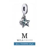 Pandora зеленая тропическая морская звезда с ракушкой, серебро
