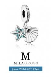 Тропическая морская звезда с ракушкой (Tropical starfish & seashell), серебро