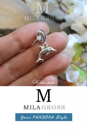 Шарм подвеска Пандора Дельфин / Dolphin, (серебро), летняя коллекция
