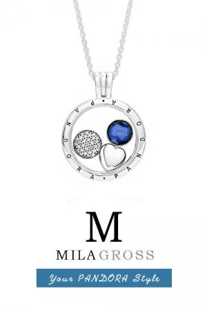 """Средний медальон Пандора """"Blue Droplet medallion"""" (серебро)"""