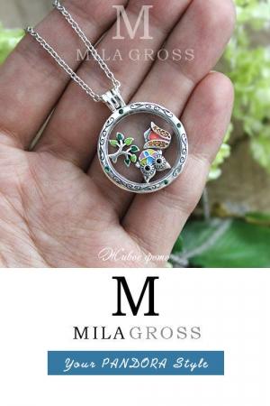 """Большой серебряный медальон с мини элементами """"Лесная сказка"""" (Forest Fairy Tail), серебро"""