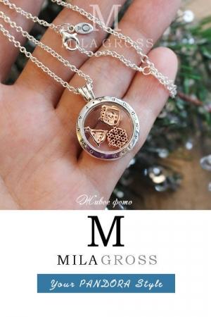 """Медальон Пандора с камушками и мини элементами """"Gold Christmas"""" (серебро, позолота)"""