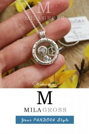 "Среднее ожерелье Пандора ""Божья Коровка"" (Ladybug locket medallion), серебро"