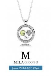 "Медальон Пандора с камнями ""Light Green Droplet medallion"", серебро"