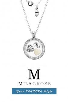 """Средний медальон Pandora с камнями и petites """"Бесконечная любовь / Infinity Love"""" (серебро)"""