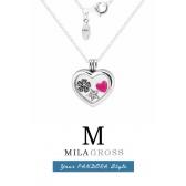 "Медальон Пандора сердце с петитами petites ""Розовое цветочное сердце"" (серебро)"