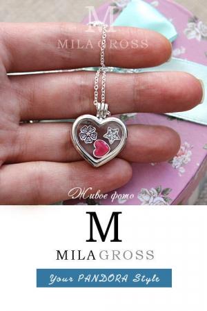 """Медальон Пандора сердце с петитами """"Розовое цветочное сердце"""", Heart locket (серебро)"""