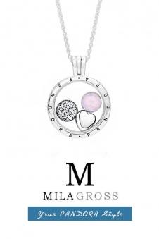 "Средний медальон Пандора петиты ""Rose Droplet medallion"" (розовая капля), серебро"