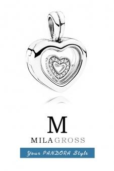 """Подвес Пандора """"Floating Heart Locket Necklace"""" (кулон сердце с петитом), серебро"""