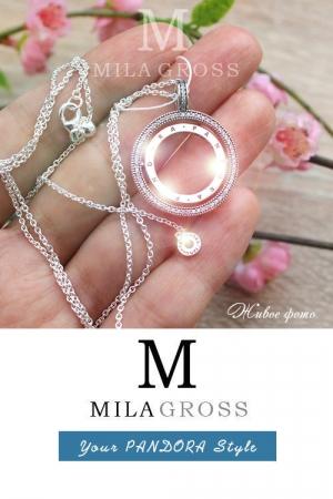 "Ожерелье Пандора ""Spinning Signature Hearts Necklace"" (Вращающиеся сердца), серебро"