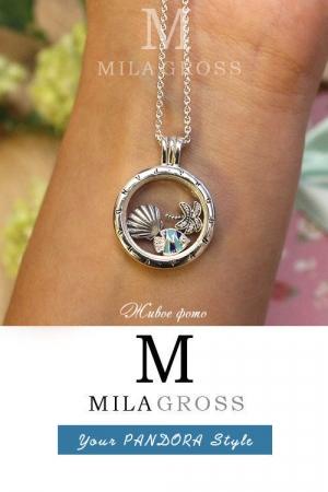 """Ожерелье Пандора """"Тропический рай: океаническая жизнь"""" (Tropical paradise floating locket), серебро"""