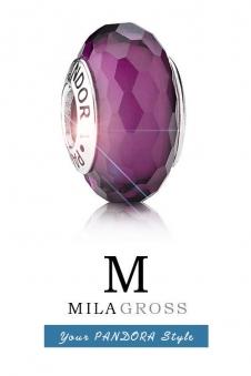 Ограненная бусина Пандора мурано фиолетовый баклажан (серебро)