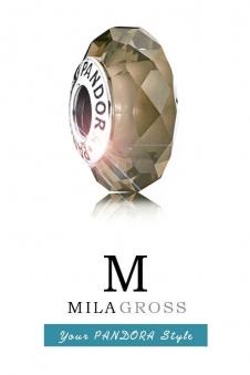 Бежево-коньячная бусина Пандора муранское стекло (серебро)