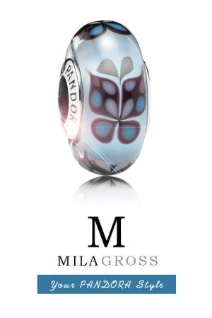 Бусина Пандора муранское стекло Голубая бабочка (Blue butterfly), лимитка, серебро!