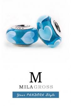 "Бусина Пандора муранское стекло ""Голубые сердечки"" (серебро)"