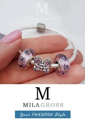 Бусина Пандора мурано Бабочки (Butterfly Murano), серебро. Новая коллекция!