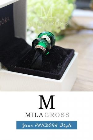 Темно-зеленая бусина Пандора муранское стекло (серебро)