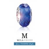 "Бусина Пандора муранское стекло (серебро) ""Темно синее граненое мурано"""