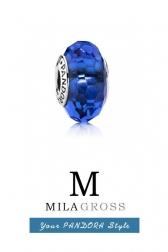 "Бусина Pandora муранское стекло (серебро) ""Темно синее граненое мурано"""