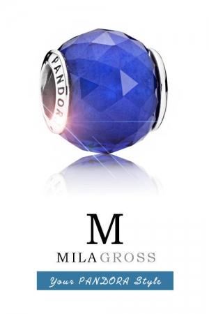 """Бусина Пандора муранское стекло """"Синий ограненный кристалл"""" (серебро)"""
