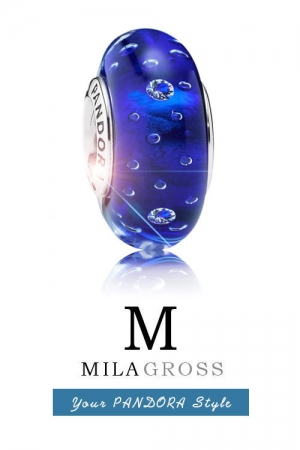 Бусина Пандора пузырьки цвета синий электрик (серебро)