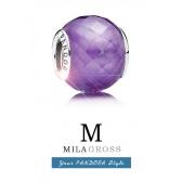 """Бусина Пандора муранское стекло """"Фиолетовый ограненный кристалл"""" (серебро)"""
