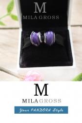 Фиолетовая граненая бусина Пандора муранское стекло (серебро)